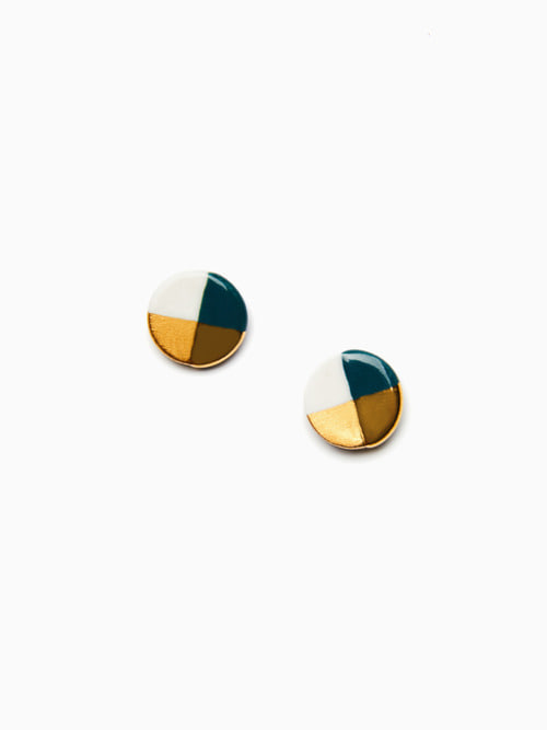 GOLD LUSTER BUTTON EARRINGS (Dark green)
