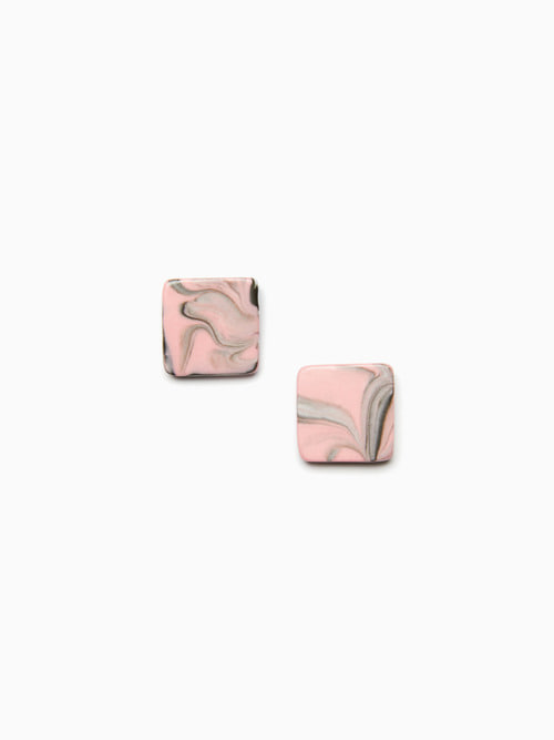MARBLING CERAMIC EARRINGS (Indie pink black)