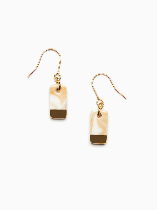 MARBLING LUSTER CERAMIC EARRINGS (Cream gold)