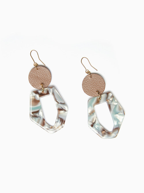 TERRAZO CIRCLE LEATHER EARRING (Mocha)