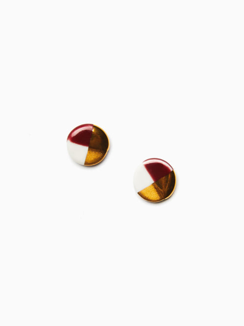 GOLD LUSTER BUTTON EARRINGS (Burgundy)