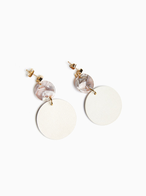TERRAZO CIRCLE LEATHER EARRING (Cream White)